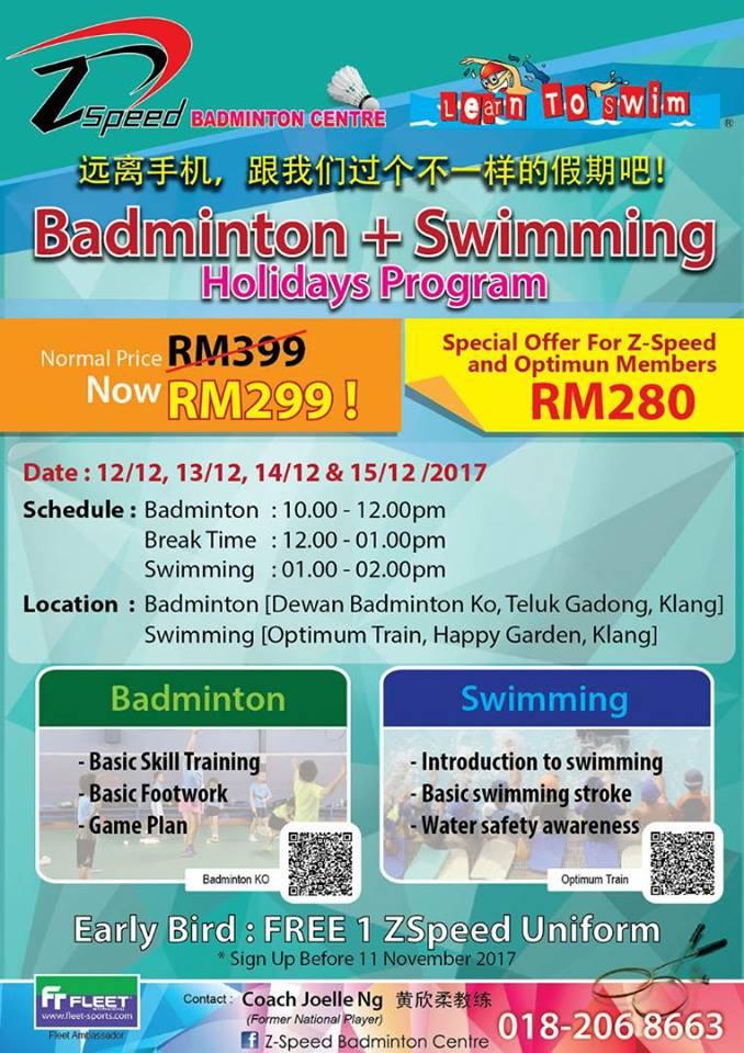 Badminton with Swimming School Holidays Programs in Klang | Z-Speed Badminton Centre